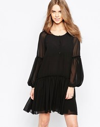 Minimum Moves Pleated Skirt Smock Dress Black