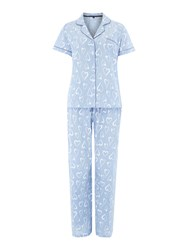 Therapy Heart Chambrey Pj Set Blue