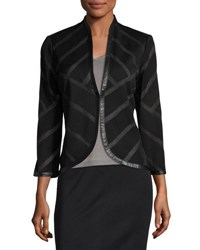 Ming Wang Striped Faux Leather Trim Knit Jacket Black