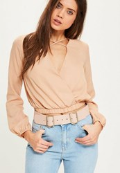 Missguided Nude Double Buckle Belt