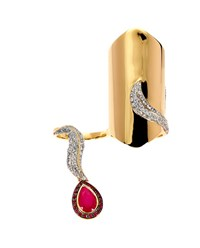 Dionea Orcini Marquise 18K Yellow Gold Diamond And Ruby Ring Yellow Ruby White