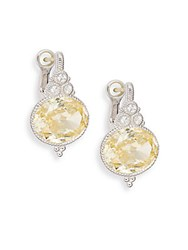 Judith Ripka La Petite White Sapphire Canary Crystal And Sterling Silver Drop Earrings Yellow
