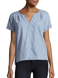 Calvin Klein Jeans Solid Split V Neck Blouse Blue