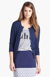 Women's Halogen Three Quarter Sleeve Cardigan Navy Peacoat