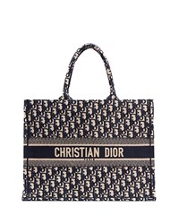Christian Dior Logo Embroidered Canvas Book Tote Blue Pattern