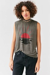Truly Madly Deeply Rising Sun Muscle Tee Green