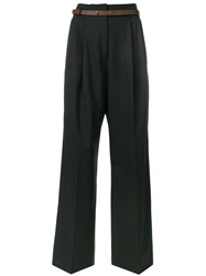 Fabiana Filippi Tailored Palazzo Pants Women Merino Spandex Elastane Polyester Cotton 42 Black