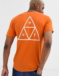 Huf Essentials Triple Triangle T Shirt With Back Print In Orange