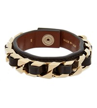 Givenchy Leather Curb Chain Bracelet Silver Small Only