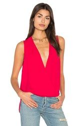 Three Eighty Two Monroe Surplice Top Red