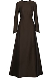 Valentino Cotton And Silk Crepe Maxi Dress Dark Brown