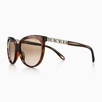 Tiffany And Co. Atlas Butterfly Sunglasses In Pale Gold Colored Metal Tortoise Acetate. Plastic