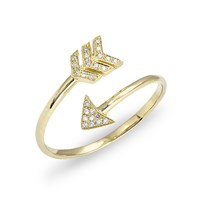 Anne Sisteron Yellow Gold Diamond Mini Arrow Wrap Ring Yellow Orange