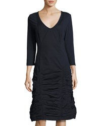 Xcvi Fleur 3 4 Sleeve Ruched Dress Navy