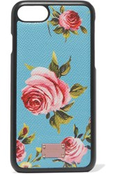 Dolce And Gabbana Printed Textured Leather Iphone 7 Case Light Blue