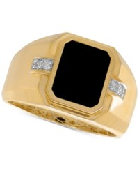 Macy's Men's Onyx 8 X 10Mm And Diamond Accent Ring In 10K Gold Black