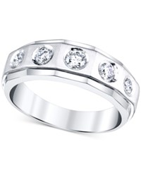 Macy's Men's Diamond Angle Etched Band 3 4 Ct. T.W. In 10K White Gold
