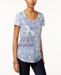 Styleandco. Style Co. Petite Sublimated Print T Shirt Only At Macy's Mosiac Stones