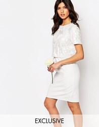 True Decadence Embellished Crop Top Midi Pencil Dress White Pink