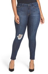 Good American Plus Size Women's Legs Ripped Skinny Jeans Blue 002