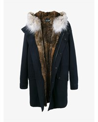Yves Salomon Rabbit And Coyote Fur Trimmed Parka Navy Multi Coloured Brown Salmon Denim