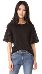 Clu Mix Media Top With Embroidery Black