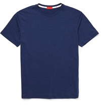 Isaia Silk And Cotton Blend Jersey T Shirt Blue