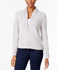 Alfred Dunner Petite Cable Knit Zip Up Cardigan Silver