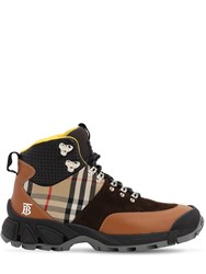 Burberry 40Mm Check Leather And Cotton Hiking Boots Tan