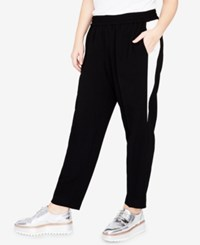 Rachel Roy Trendy Plus Size Contrast Inset Jogger Pants Black