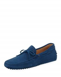 Tod's Suede Flat Slip On Moccasin Blue