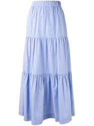 P.A.R.O.S.H. Pleated Maxi Skirt Blue