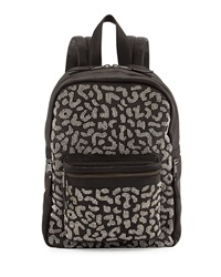 Ash Domino Beaded Leather Backpack Black Silver