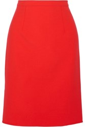 Oscar De La Renta Wool Blend Pencil Skirt Tomato Red