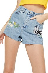 Topshop Love Me Not Embroidered Mom Shorts Mid Denim Multi
