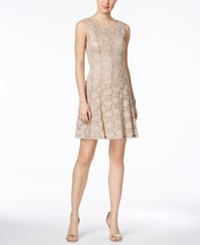 Connected Petite Sequined Lace Fit And Flare Dress Taupe Stone