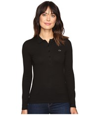 Lacoste Long Sleeve Stretch Pique Polo Black Women's Long Sleeve Pullover