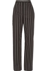 Balenciaga Striped Cotton Poplin Straight Leg Pants Black