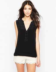 See U Soon Sleeveless Top With Lace Up Eyelet Detail Black