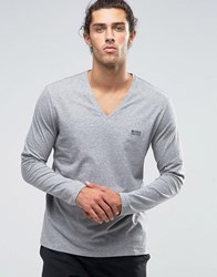 Boss Hugo V Neck Long Sleeve Top In Regular Fit Grey