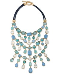 Carolee Gold Tone Multi Stone And Satin Cord Statement Necklace Blue Multi
