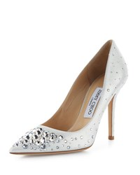 Jimmy Choo Abel Crystal Pointed Toe Pump White White Metallic