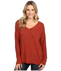 Allen Allen Long Sleeve Sweater Vee Paprika Women's Sweater Red