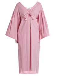 Teija V Neck Smocked Striped Cotton Dress Light Pink
