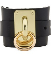 Zana Bayne Wide Leather Choker Cuff Black
