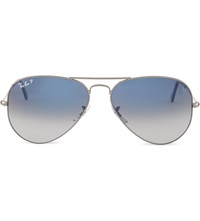 Ray Ban Original Aviator Gunmetal Frame Sunglasses With Gradient Blue Lenses Rb3025 58