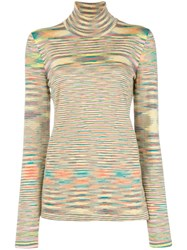 Missoni Striped Turtleneck Jumper Yellow And Orange