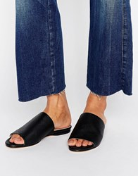 London Rebel Flat Mule Sandal Black Pu