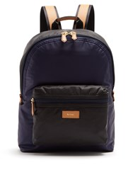 Paul Smith Tri Colour Leather Trimmed Nylon Backpack Navy Multi
