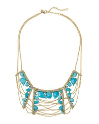 Alexis Bittar Crystal Encrusted Draped Chain Bib Necklace Women's